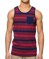 Zine Studies Red & Navy Stripe Pocket Tank Top