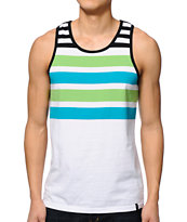 Zine Tanline White, Green, & Teal Stripe Tank Top