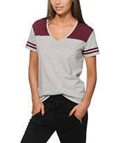 Zine Tanner Grey & Burgundy Football Tee