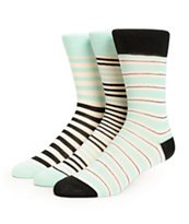 Zine Tara 3 Pack Mint Stripe Crew Socks