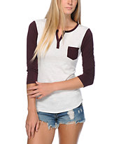 Zine Tawny Port & White Heather Henley Shirt