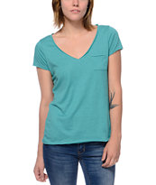Zine Teal Raw Edge V-Neck Tee Shirt