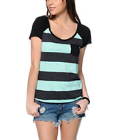 Zine Tempo Mint & Charcoal Stripe Tee Shirt