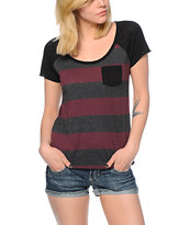Zine Tempo Purple & Charcoal Stripe T-Shirt
