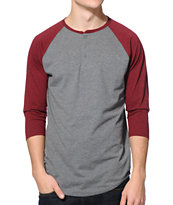 Zine Touche Charcoal & Burgundy Henley Baseball Tee Shirt