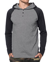 Zine Tracer Grey & Black Hooded Henley Baseball Shirt