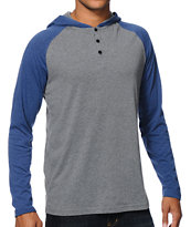 Zine Tracer Grey & Blue Long Sleeve Hooded Henley Shirt