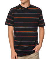 Zine Troubadour Black Striped V-Neck Tee Shirt