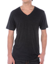 Zine V-Neck Heather Black Tee Shirt