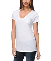 Zine V-Neck Pocket White Tee Shirt