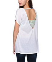 Zine White Scoop Back Dolman Tee Shirt
