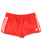 adidas 3 Stripe Red Track Shorts