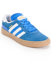adidas Busenitz Vulc Bluebird, White, & Gum Skate Shoes