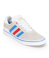 adidas Busenitz Vulc White, Blue, & Red Skate Shoes