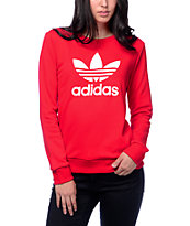 adidas Trefoil Red Crew Neck Sweatshirt