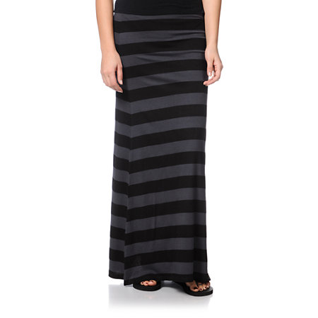 billabong anina black grey stripe maxi skirt at zumiez pdp