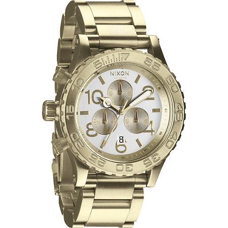 Nixon 42 20 champagne gold chronograph watch at zumiez pdp for Watches zumiez
