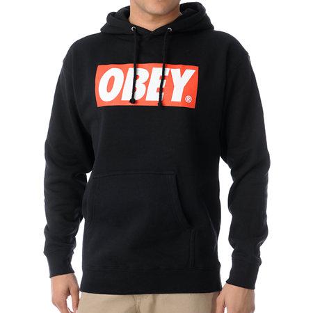 obey box logo black pullover hoodie at zumiez pdp. Black Bedroom Furniture Sets. Home Design Ideas