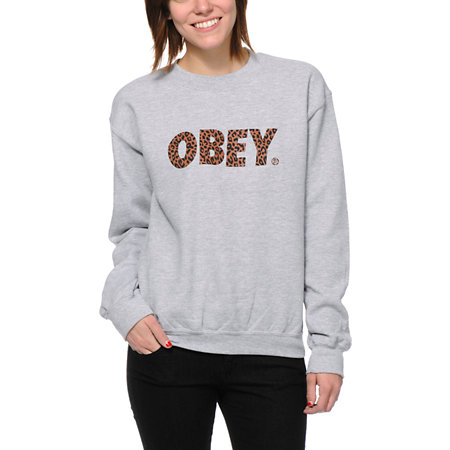 Obey Sweatshirt Girl - Gray Cardigan Sweater