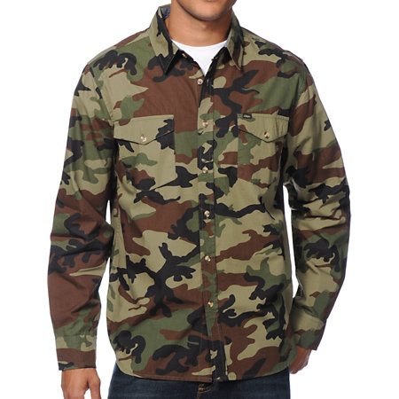 Obey Field Assassin Camo Long Sleeve Button Up Shirt At