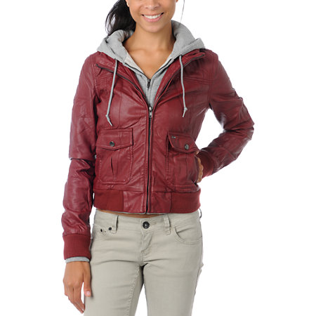 Obey Varsity Hooded Leather Jacket in Black & Grey | REVOLVE