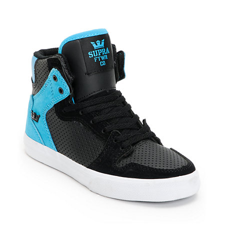Supra Kids Vaider Black & Turquoise Perforated High Top Shoes at ...