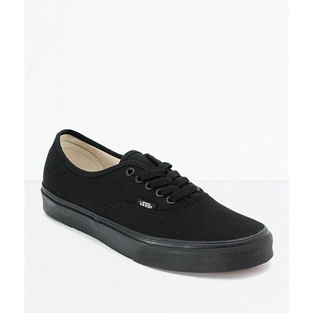 vans authentic lace up all black shoes at zumiez pdp