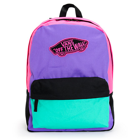 Vans Realm Purple Green Amp Pink Colorblock Backpack At