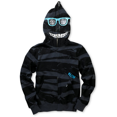 Volcom Boys Peepers Charcoal Stripe Full Zip Face Mask Hoodie at