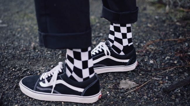 9dc8220d056285 Vans Black   White Checker Crew Socks