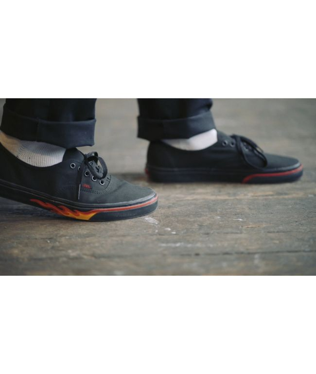 ee6b1fcbf2932c Vans Authentic Flame Wall Black Skate Shoes