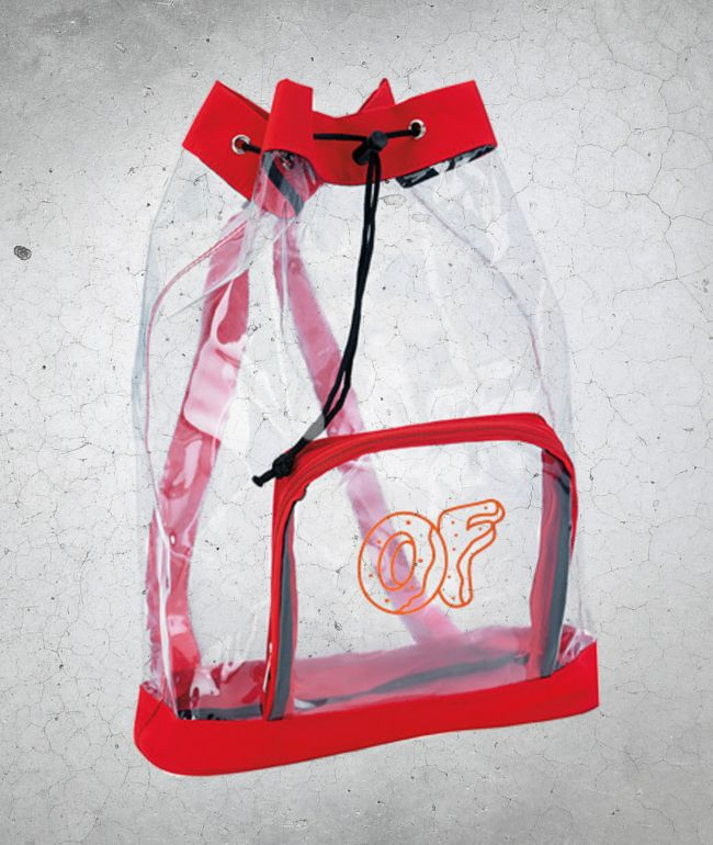 Odd Future Clear Red Drawstring Backpack