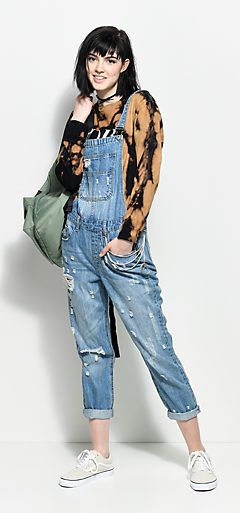 Outfits 6 Obey Bleach Tee And Overalls With Vans Backpack