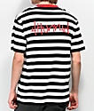 4Hunnid Members camiseta de rayas blanca y negra