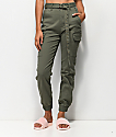 Almost Famous Belted Olive Cargo Pants