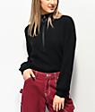 Almost Famous Cory Black Half Zip Sweater
