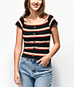 Almost Famous Lilli Black Stripe Off The Shoulder Top