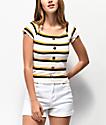 Almost Famous Lilli camiseta de rayas blancas con escote Bardot