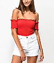 Almost Famous Off The Shoulder Red Smocked Crop Top