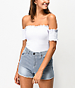 Almost Famous Off The Shoulder White Smocked Crop Top