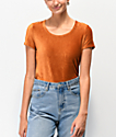 Almost Famous Rust camiseta acanalada de terciopelo