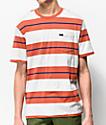 Brixton Hilt camiseta naranja y blanquecina de rayas con bolsillo