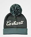 Carhartt Chainstitch Logo Blue & Grey Pom Beanie