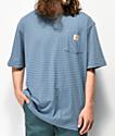 Carhartt Workwear camiseta azul de rayas con bolsillo