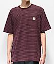 Carhartt Workwear camiseta con bolsillo borgoña de rayas