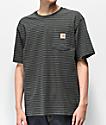 Carhartt Workwear camiseta con bolsillo gris y verde de rayas