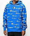 Champion All Over Print sudadera con capucha azul de tejido inverso