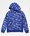 Champion All Over Print sudadera con capucha azul para niños