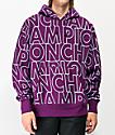 Champion Allover Block Text sudadera con capucha de tejido inverso morado