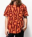 Champion Allover Print Block Text camiseta naranja